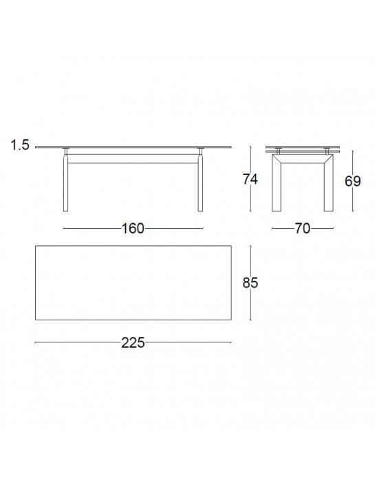Tisch LC6 von Cassina | Glasplatte