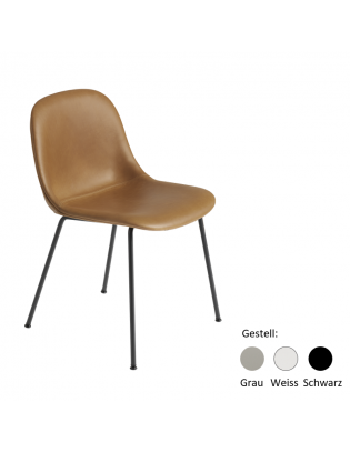 Stuhl Fiber Side Chair Tube Base von Muuto (gepolstert) Bezug: Cognac (Leder Refine) Gestell: Schwarz, Grau oder Weiss