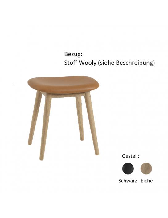 Stuhl Fiber Stool Wood Base von Muuto (gepolstert) Gestell: Eiche oder Schwarz Bezug: Stoff Wooly