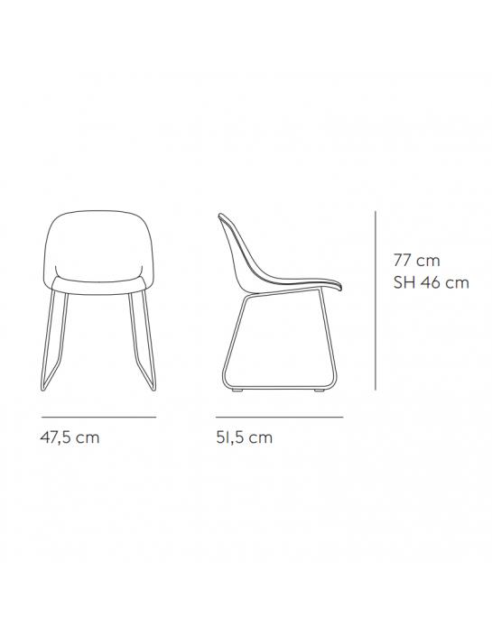Stuhl Fiber Side Chair Sled Base von Muuto (gepolstert) Masse