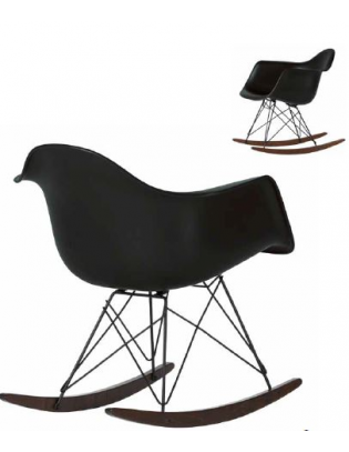 Schaukelstuhl Eames Plastic Armchair RAR Vitra Black Version