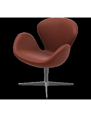 Lounge Chair Der Schwan von Fritz Hansen mit Lederbezug