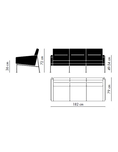 Sofa Serie 3300 von Fritz Hansen mit Stoffbezug